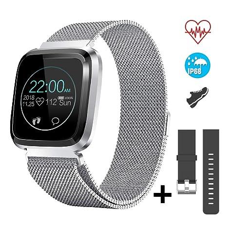 CatShin Smartwatch Android/iOS con Pulsómetro,CS08 Pulsera Actividad Reloj Deportivo Inteligente con Impermeable