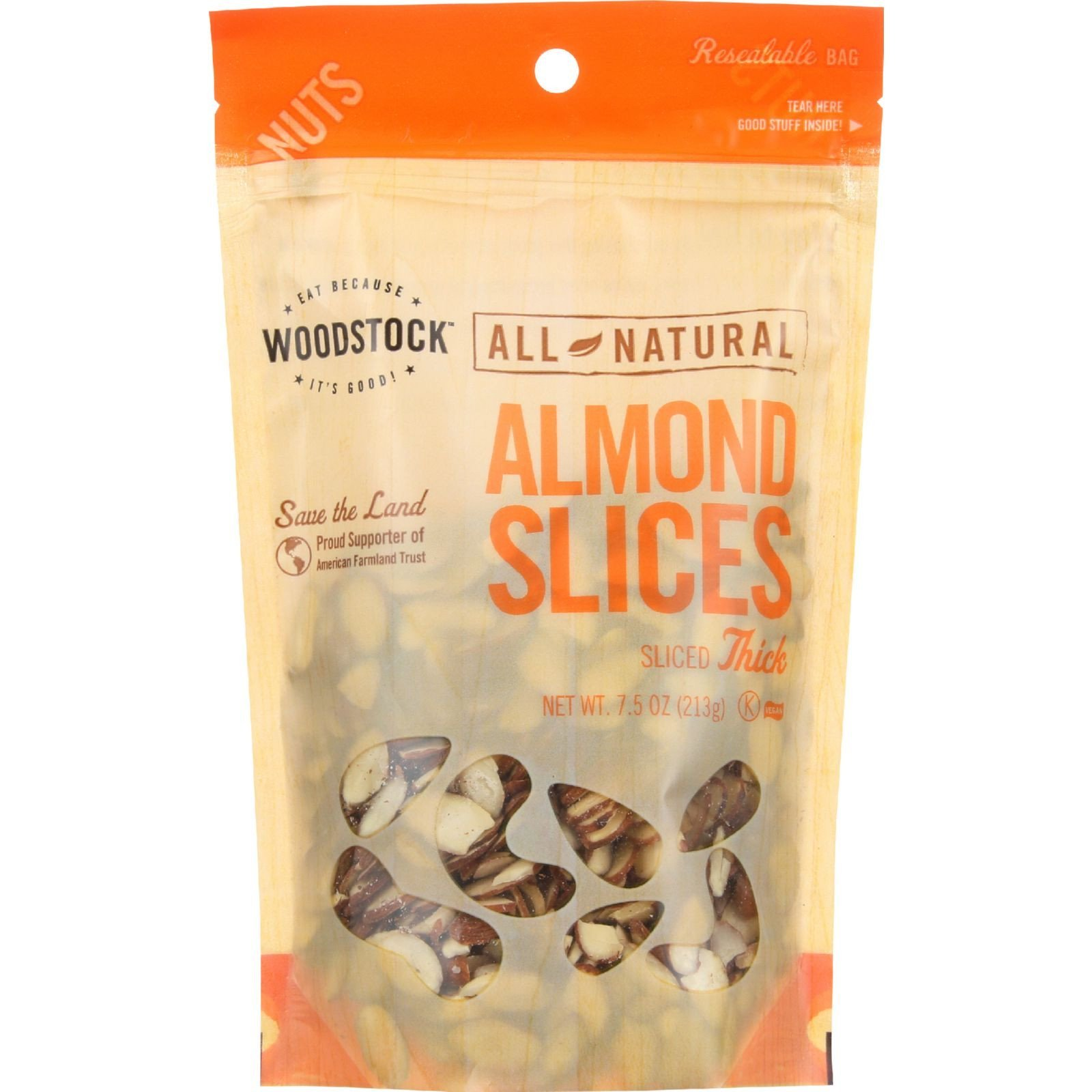 Woodstock Farms Almonds, Natural Thick Slice, 7.5-Ounce Bags (Pack of 4)