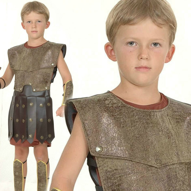 Childrens Black Julius Caesar Toga Fancy Dress Costume Roman Outfit Kids XL