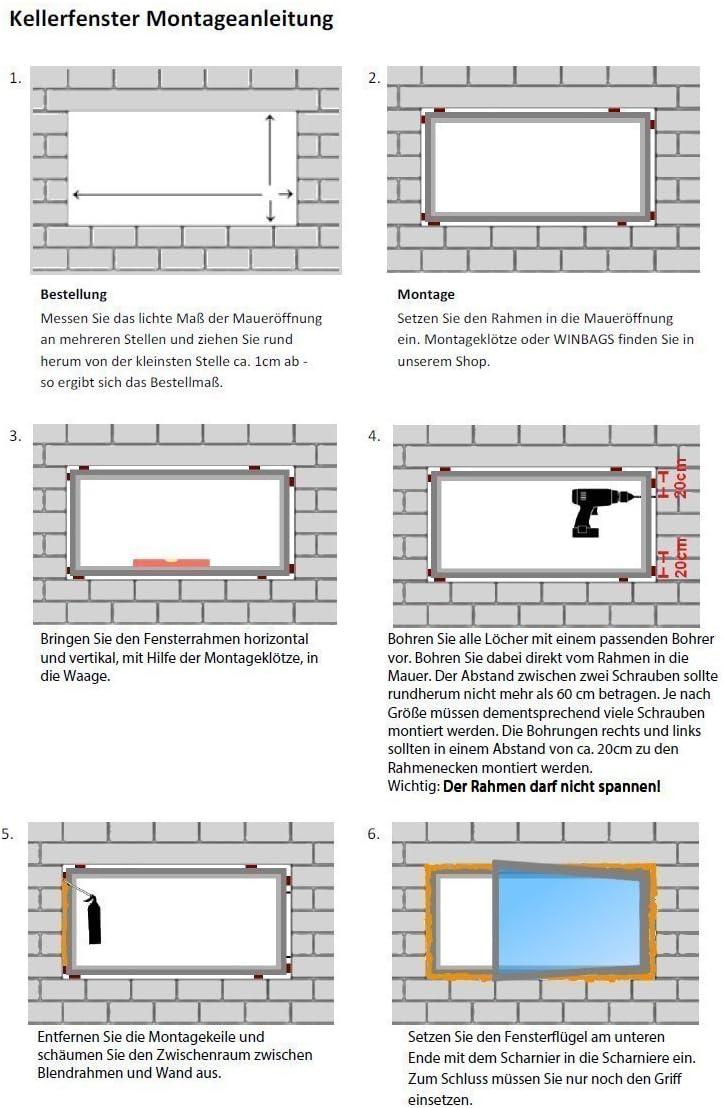 Premium Fenster Kellerfenster Kunststofffenster Breite: 110 cm 2 fach Verglasung Alle Gr/ö/ßen Dreh Kipp Wei/ß BxH: 110x100 cm DIN Rechts