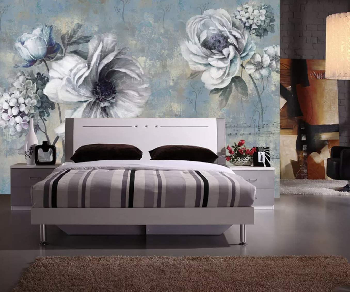 Amazon Com Murwall Dark Floral Wallpaper Peony Floral Wall Murals