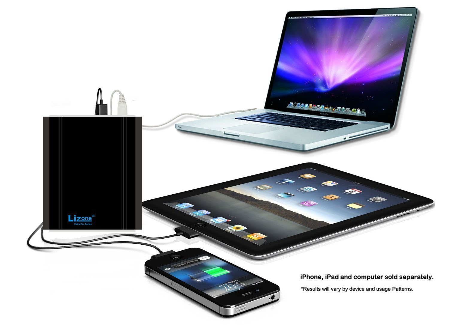 Lizone® Extra Pro 26000mAh súper capacidad Power Bank Batería Externa Cargador Portátil para Apple MacBook, Notebooks Dell, HP, ...