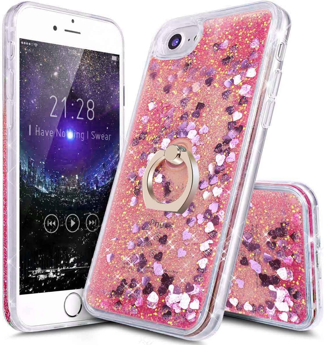 i-Dawn Compatible iPhone 7 Case,iPhone 6s Cute Case,iPhone 6 Case,i-Dawn Transparent Clear Soft TPU Glitter Bling Liquid Floating Quicksand Case Cover with Ring Stand Holder (Pink)