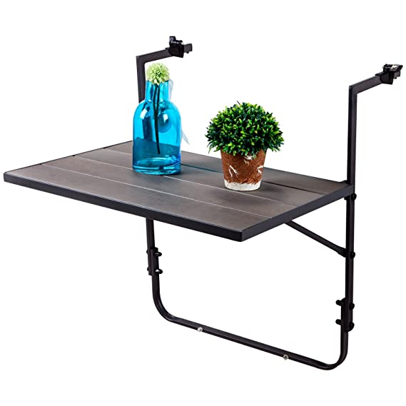 Incroyable LCH Outdoor Balcony Table Folding Deck Table Steel Frame Patio Stand  Hanging Railing Serving Table Adjustable