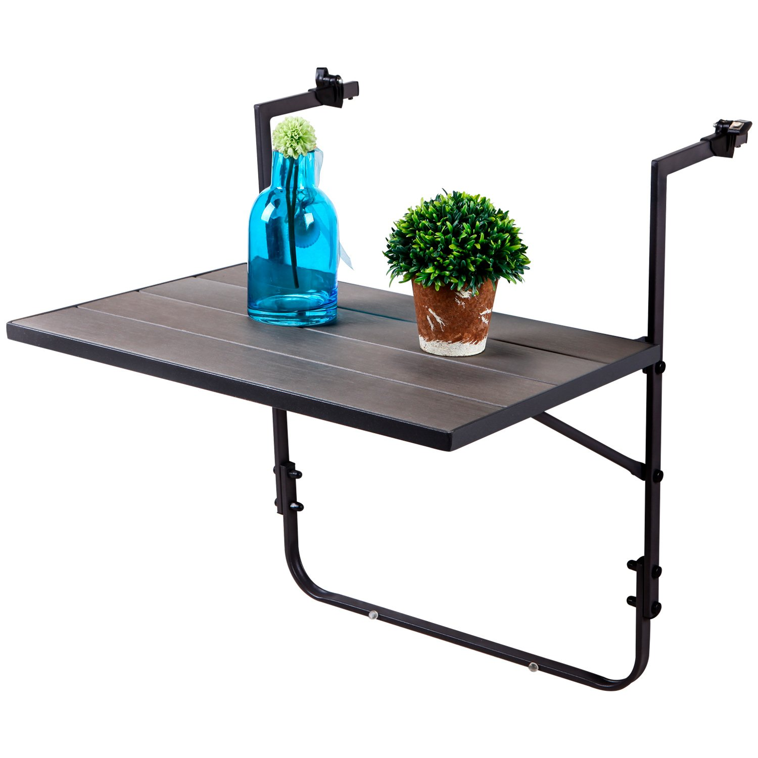 LCH Outdoor Balcony Table Folding Deck Table Steel Frame Patio Stand Hanging Railing Serving Table Adjustable for Garden Porch, Black