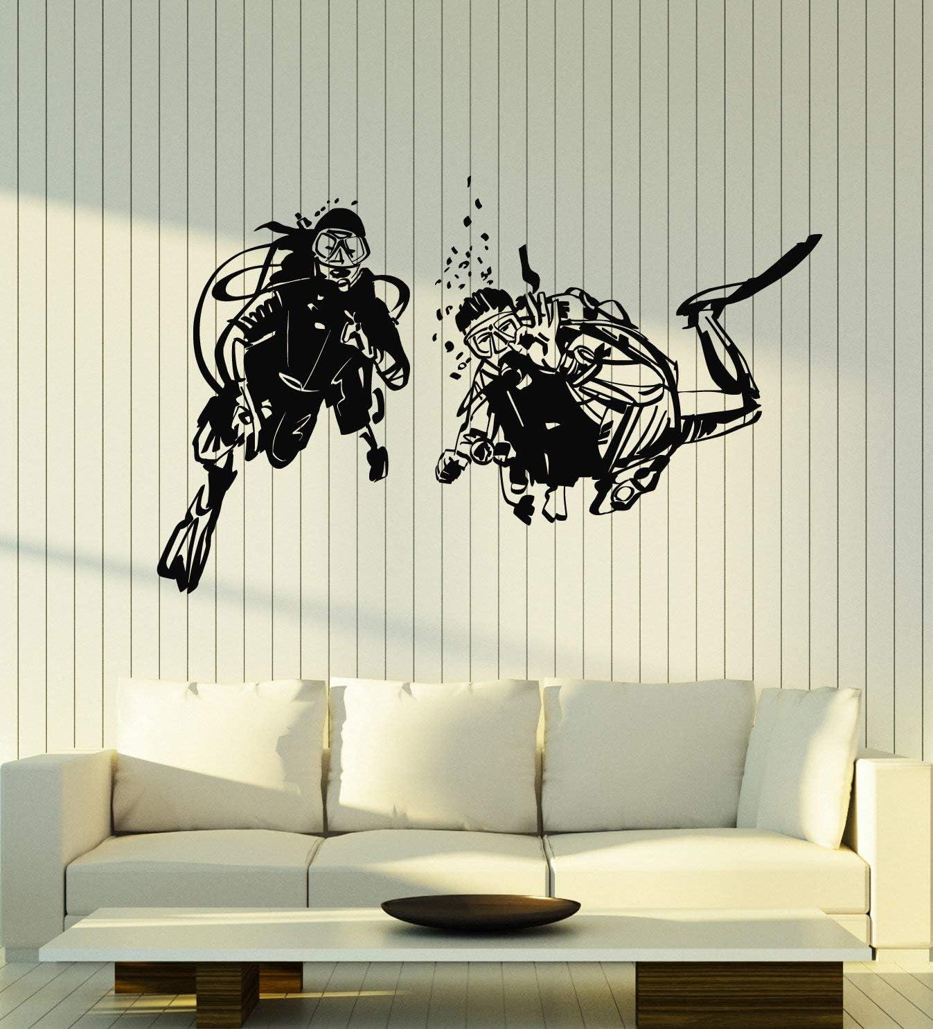Large Vinyl Wall Decal Divers Ocean Decor Scuba Diving Suit Extreme Sport Stickers Mural (g2514) Black