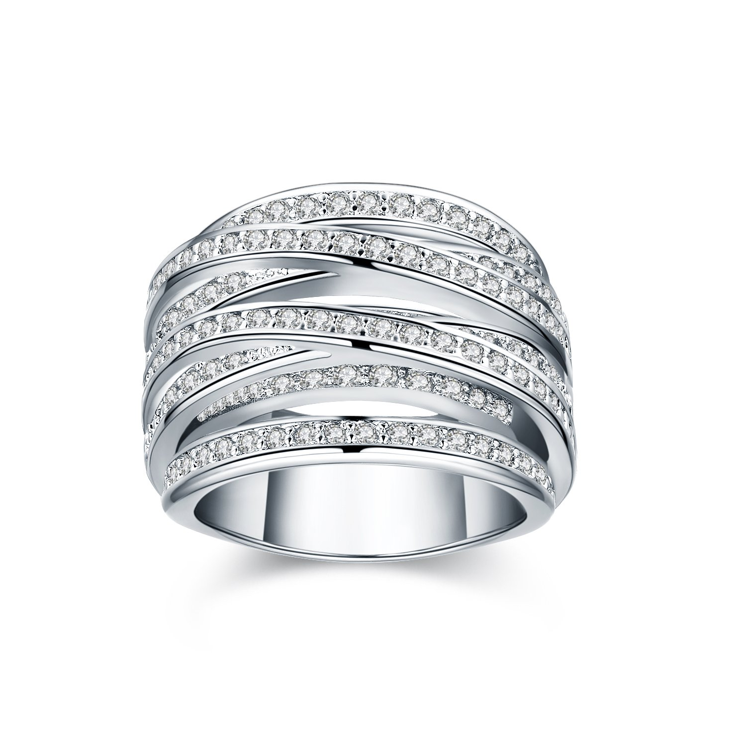Platinum/Yellow Gold-Plated Spiral Ring with Zirconia Crystal Pave