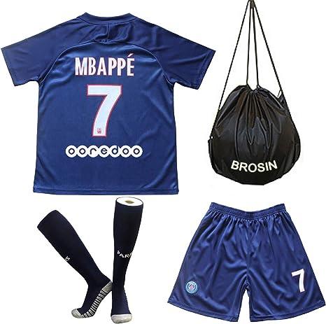 Brosin - Camiseta de fútbol Paris Saint Germain del PSG N ° 9 Cavani # 10 Neymar Jr # 7 MBAPPE Traje de Deporte para niño, Apto para niños, 7 MBAPPE, 6-8Years/24: Amazon.es: Deportes y aire libre