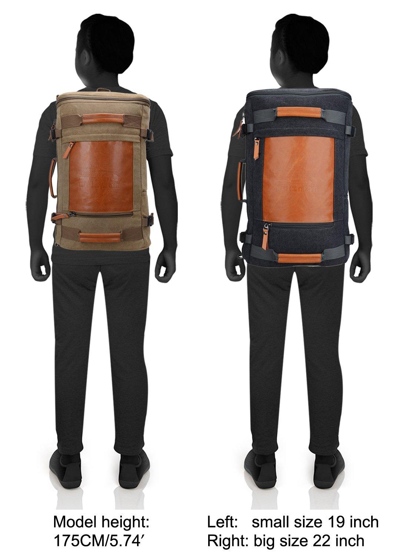 WITZMAN Men Vintage Canvas Rucksack Travel Duffel Backpack Retro Hiking Bag 2033 (19 inch Green) by WITZMAN (Image #7)