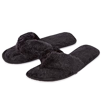 2f3eb4bed97 Forever Dreaming Womens Open Toe Memory Foam Faux Fur Indoor Flip Flop Thong  Slippers  Amazon.co.uk  Shoes   Bags