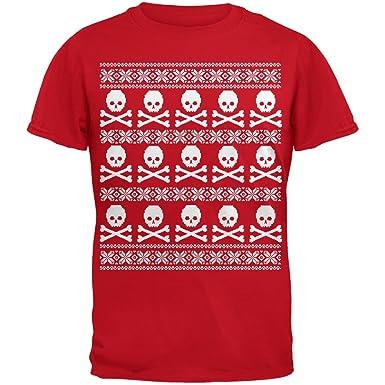 Großer Totenkopf und gekreuzten Knochen Muster hässlich Christmas Sweater  rot Erwachsenen T-Shirt-klein