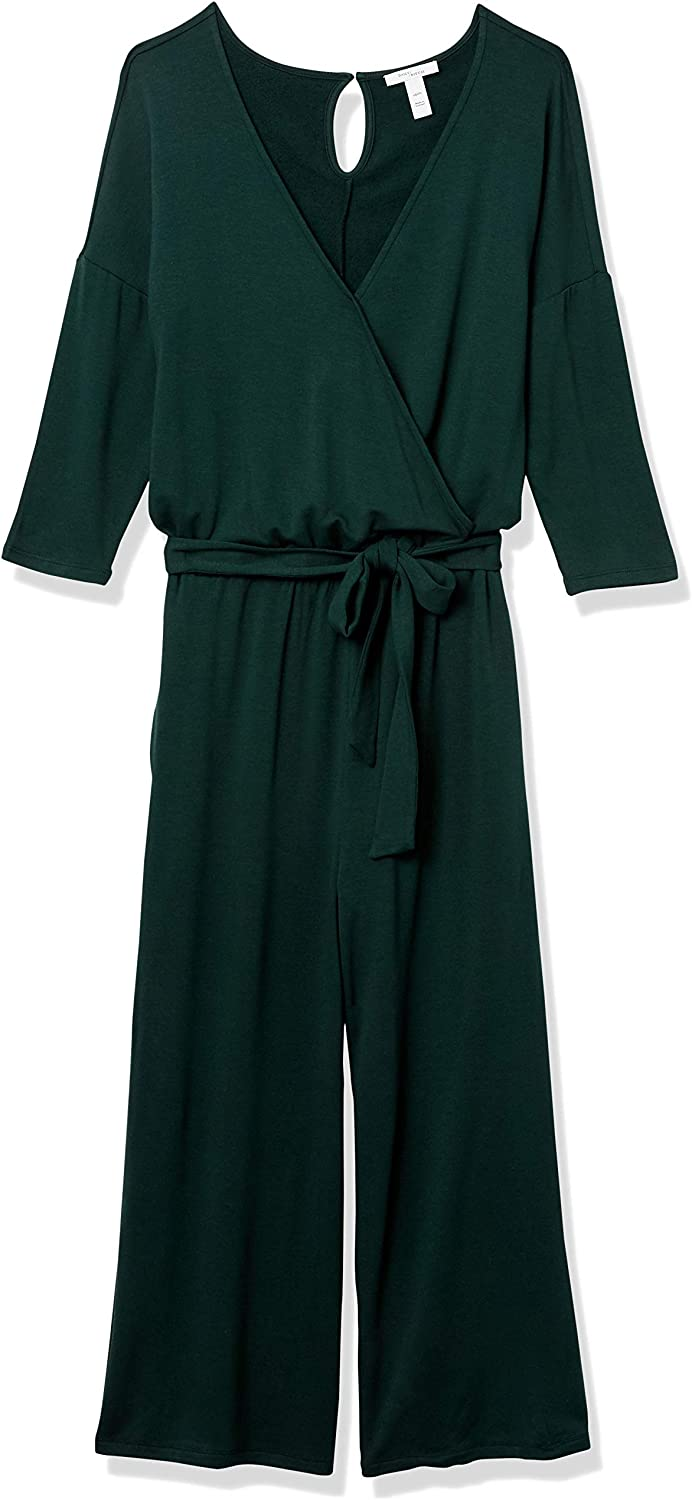 Brand Daily Ritual Womens Supersoft Terry Elbow-Sleeve Overlap Jumpsuit