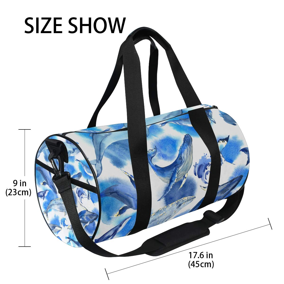 Sea Whale Yoga Sports Gym Duffle Bags Tote Sling Travel Bag Patterned Canvas with Pocket and Zipper For Men Women Bag by EVERUI (Image #4)