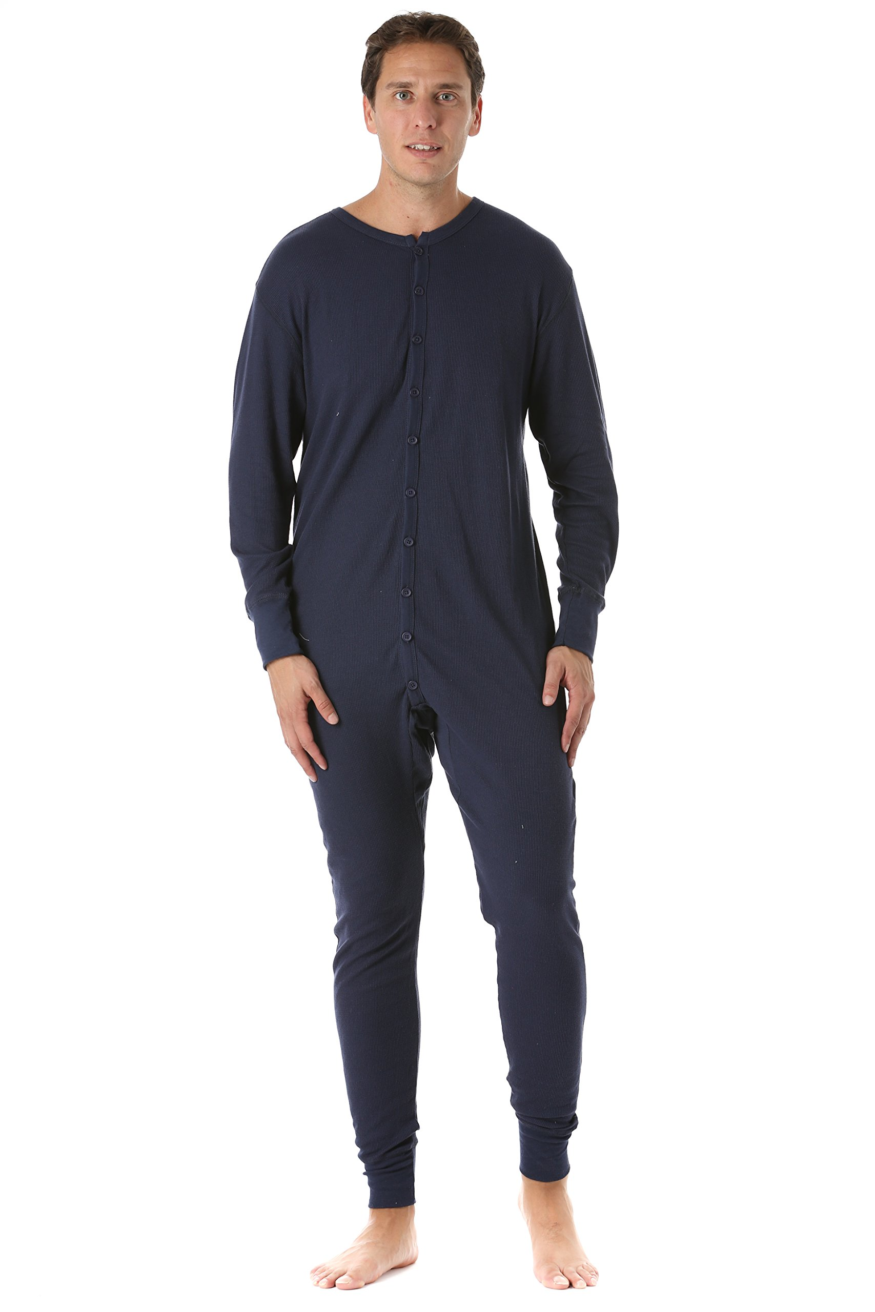 #followme 9393-NVY-L Men's Solid Thermal Henley Onesie