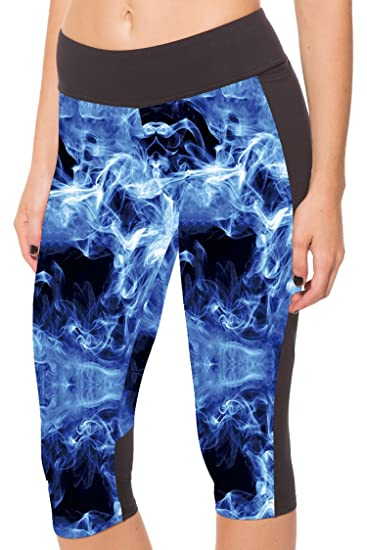 346df46feb Women's Capri Workout Leggings Fitted Running Gym Stretch YOGA Tights Pants  S Blue