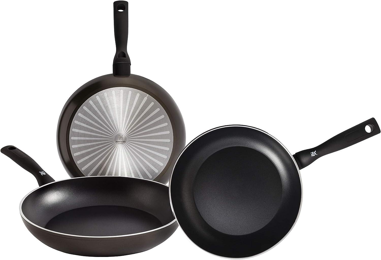 WMF Permadur Element Set de 3 sartenes de acero inoxidable de 20, 24 y 28 cm, con antiadherente para todo tipo de cocinas incluido inducción, Aluminio Fundido