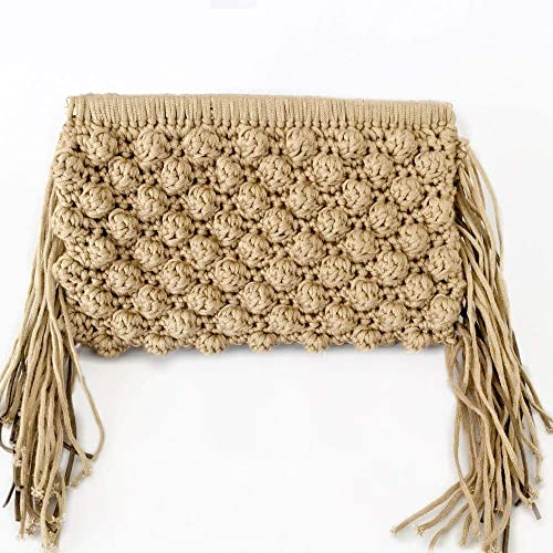 Amazon.com  Women handmade beige crochet clutch with fringes Envelope Bag  Boho Fringed Clutch  Handmade e3f35d3841be8