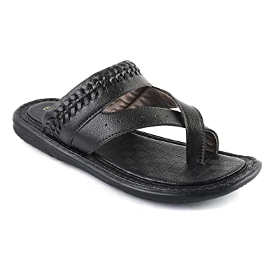dc932f0c4aaf BERKINS Men s Synthetic Leather Latest Fashion Flip-Flops and House Slippers  (0SOD5007) Black