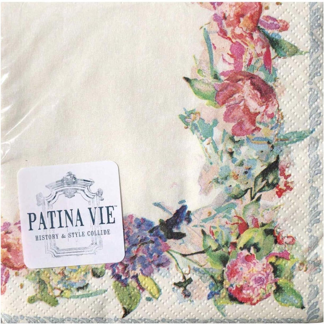 Patina Vie PV Floral Cream Paper Cocktail Beverage Napkins (0524), 36 ct