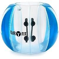 Klarfit Bubball KR - Bubble Ball, Blasen-Fußball, Bubble Soccer, ideale Maße für Kinder, Schultergurte und Handgriffe im Inneren, aufprallgeschützt, 8 Luftkammern, 2 Größen, rot oder blau