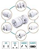 SHOPTOSHOP Power Travel Adapter All in One US, AUS, NZ, Europe, UK (White, Medium) (White)
