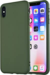 Manleno Compatible iPhone Xs Max Case,iPhone Xs Plus Case Slim Fit Full Matte Skin Case Soft Flexible TPU Cover Case for iPhone Xs Max 6.5 inch (Hunter Green)