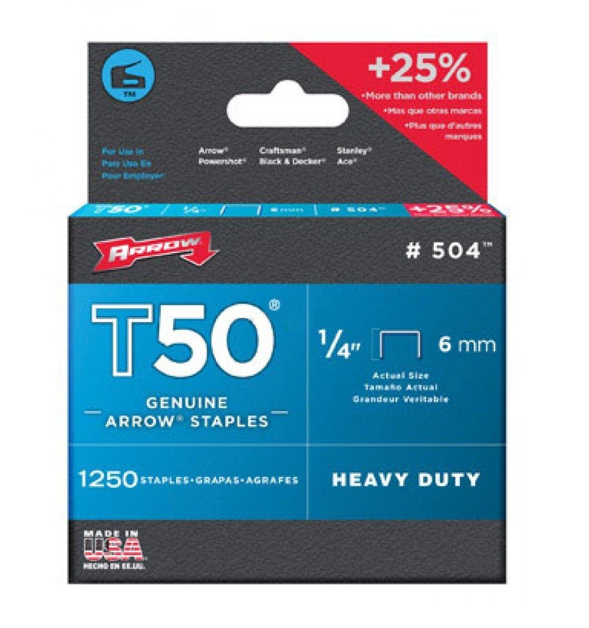 Arrow Fastener 50424 1/4'' T50 Staples by Arrow Fastener