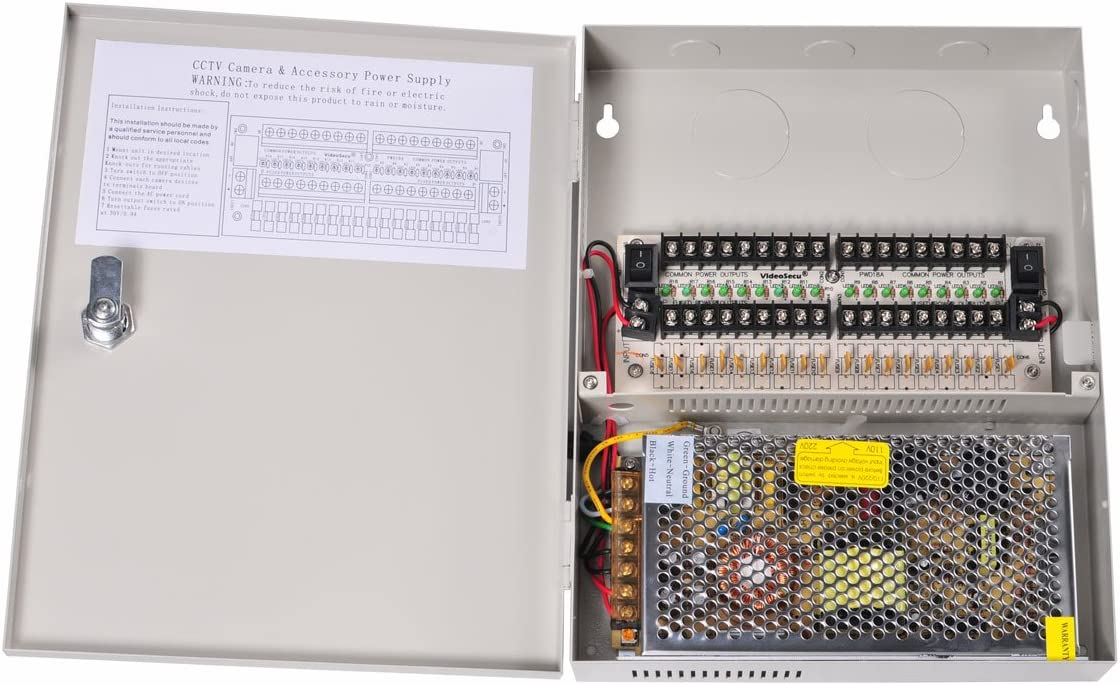 VideoSecu 18 Channel Port Output 12V DC Auto Reset CCTV PTC Fuse Distributed Power Supply Box for Security Cameras WK3