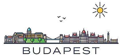 Adesivo murale Budapest con città e lettere colorate ...