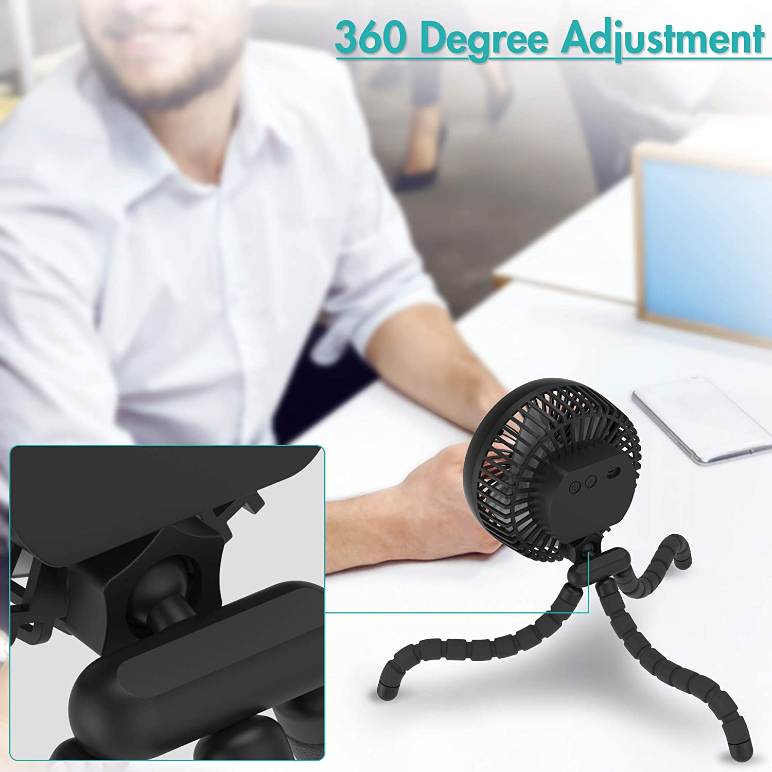 360/° Rotate Ultra Quiet USB Fan for Stroller Treadmill Tent Sturdy Tripod 10000mAh Battery Powered Clip On Fan With 53H Long Working Time for Hurricane Outage 6-Inch Versatile Fan Strong Wind 4 Speeds