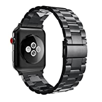 Fintie for Apple Watch Band 44mm 42mm, Premium Stainless Steel Metal Strap Bracelet Compatible with Apple Watch Series 4 3 2 1 Sport Nike+ Edition, Black