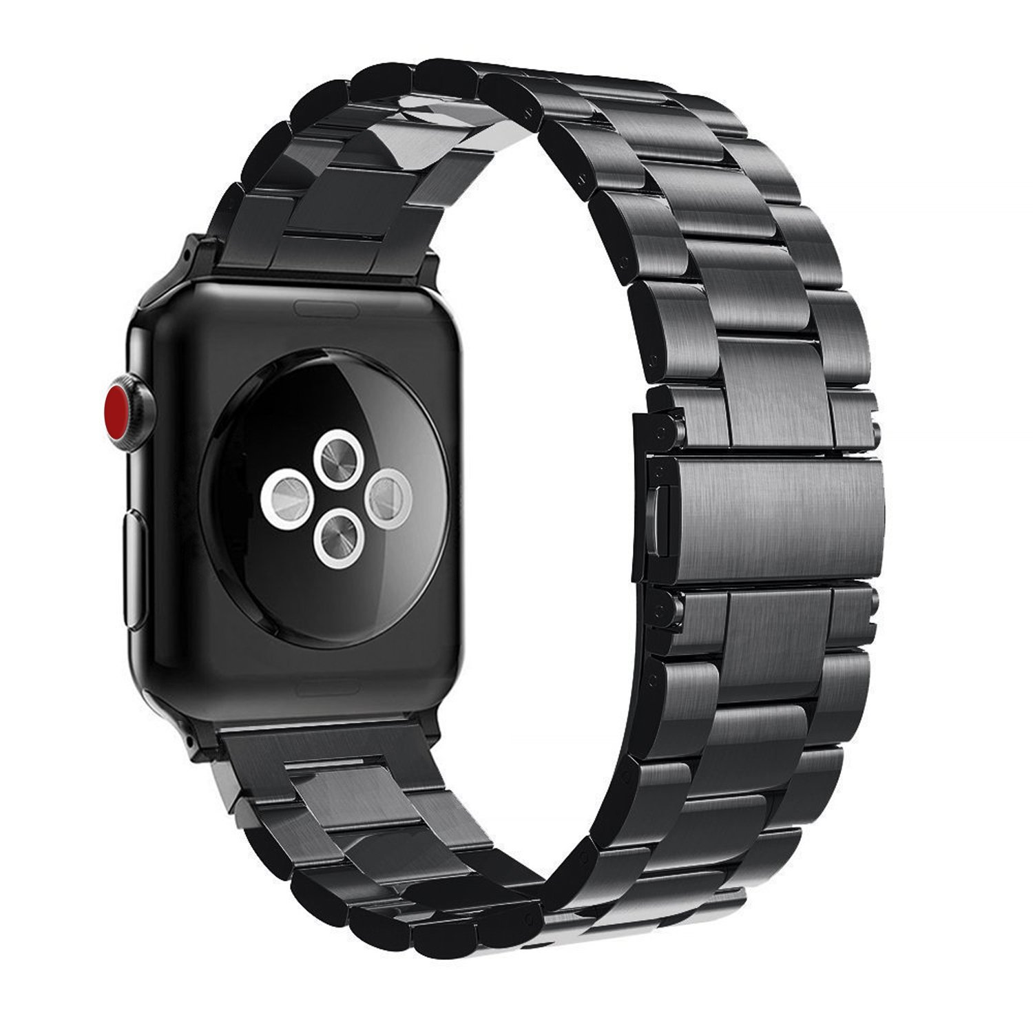 for Apple Watch Band 42mm, Fintie Solid Stainless Steel Metal Replacement Strap Bracelet Wrist Bands for Apple Watch Series 3 Series 2 Series 1 42mm All Models - Black