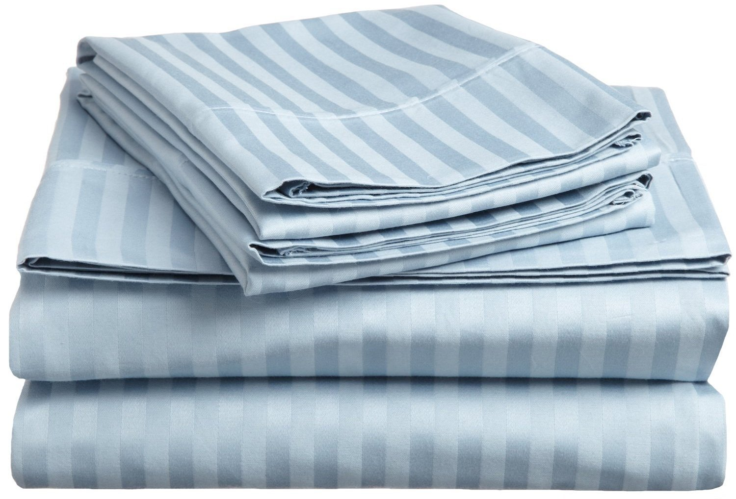1000 Thread Count Nicely Fab RV Short Queen ( Size ) 100% Egyptian Cotton Flat / Top Sheet With Extra 2 PC Pillow Cases All Heavy Colors Striped ( Light Blue ) By Galaxy's Linen - Click Image to Close