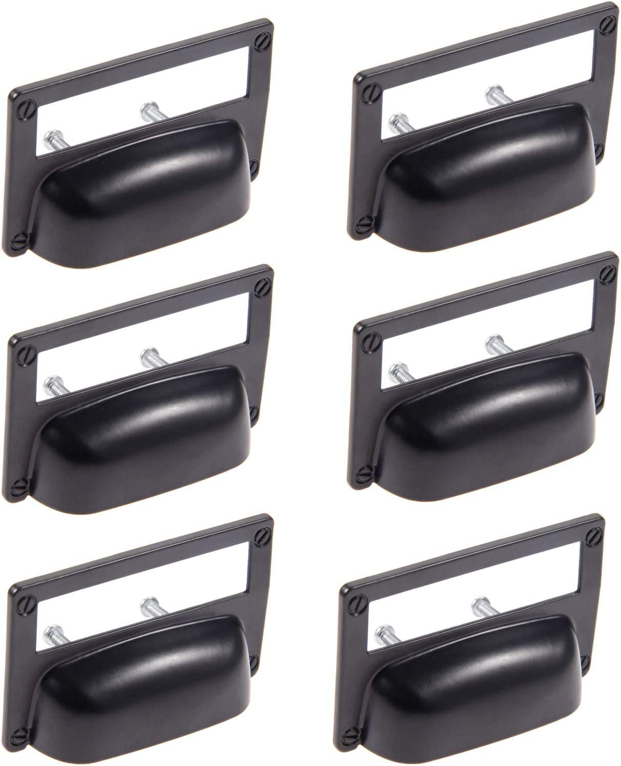 3.19x2.05 L x H Oil Rubbed Black Dophee 6Pcs Hole Space 1.38 Farmhouse Style Label Tag Frame Handle Knob for Cabinet Drawer Door