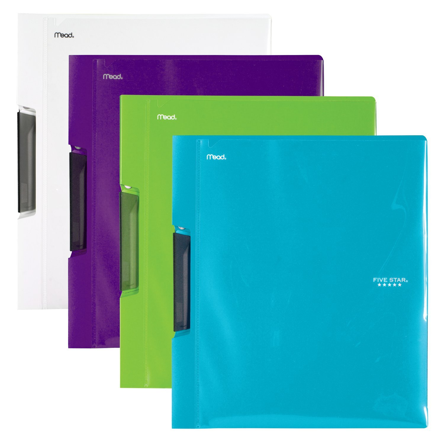 Five Star Report Cover, Teal, White, Royal Purple, Lime, 4 Pack (38116)