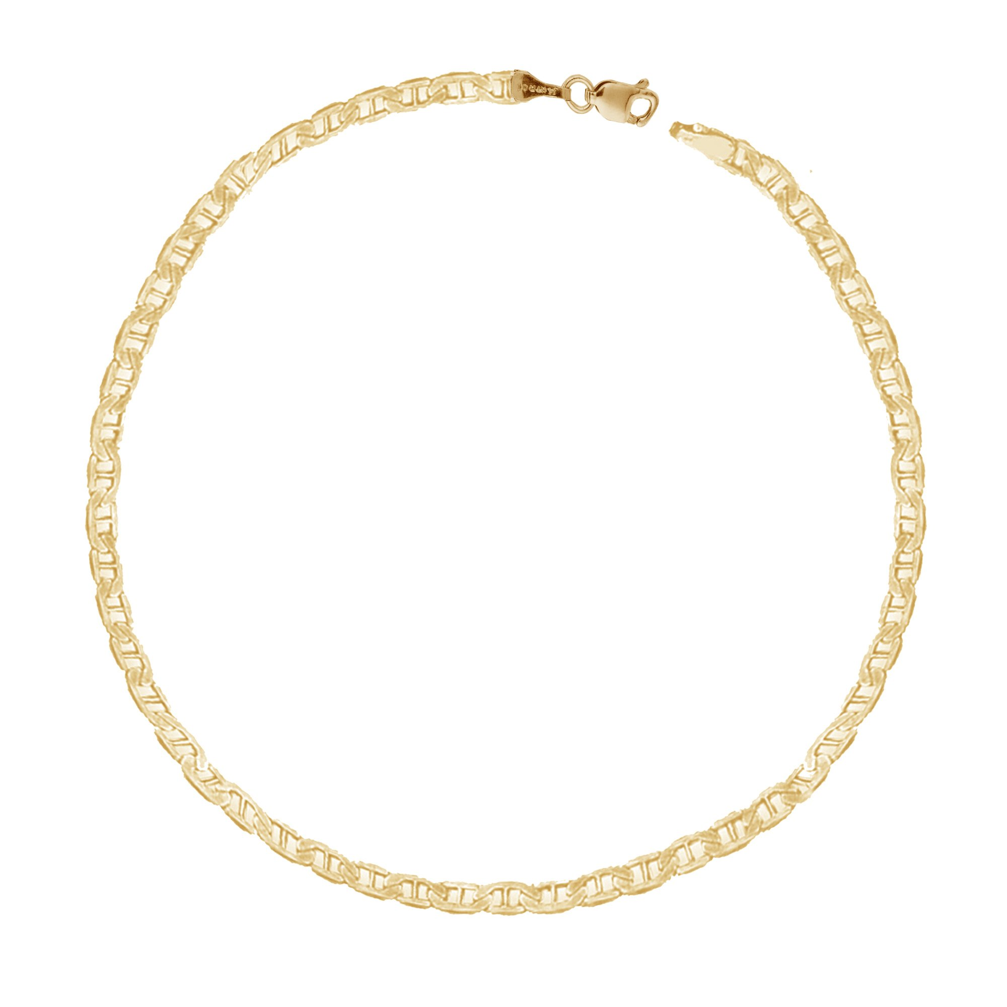 Ritastephens 14k Yellow Gold Mariner Link Chain Bracelet 3.2 Mm 7 Inches