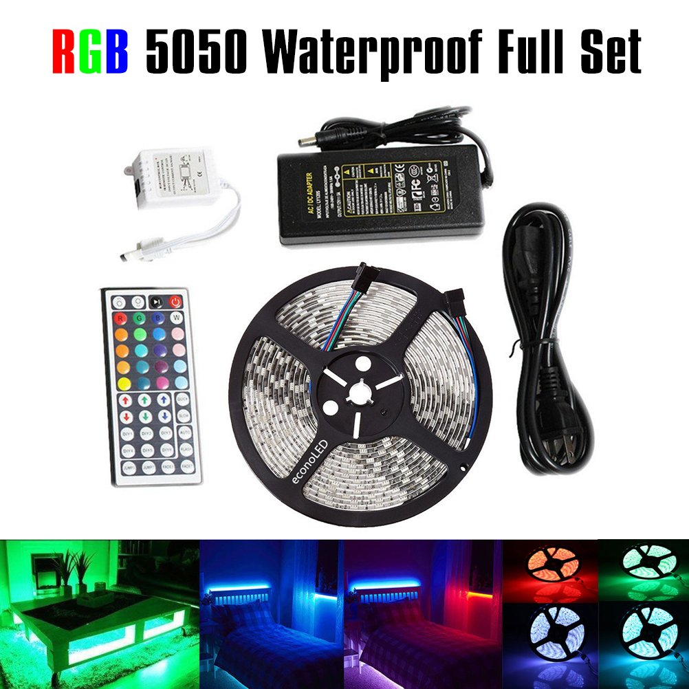 Led Strip Lights Flexible Ribbon Quick Adapter Wiring Connector Multi Color Rgb 5050smd Lighting Smd 5050 Waterproof 164ft 5m 300leds Changing Rope