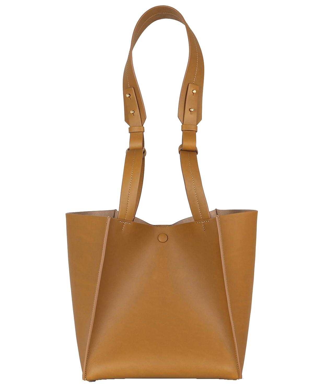Sophie Hulme stor album kub designer väska greppa axel snygg handväska gåva Summer Tan
