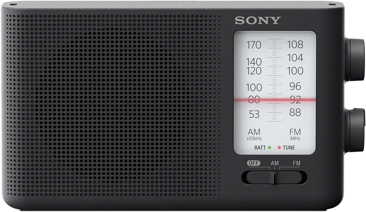 Sony Dual Band FM/AM Analog Portable Battery Radio Home Audio Radio Black (ICF-19)