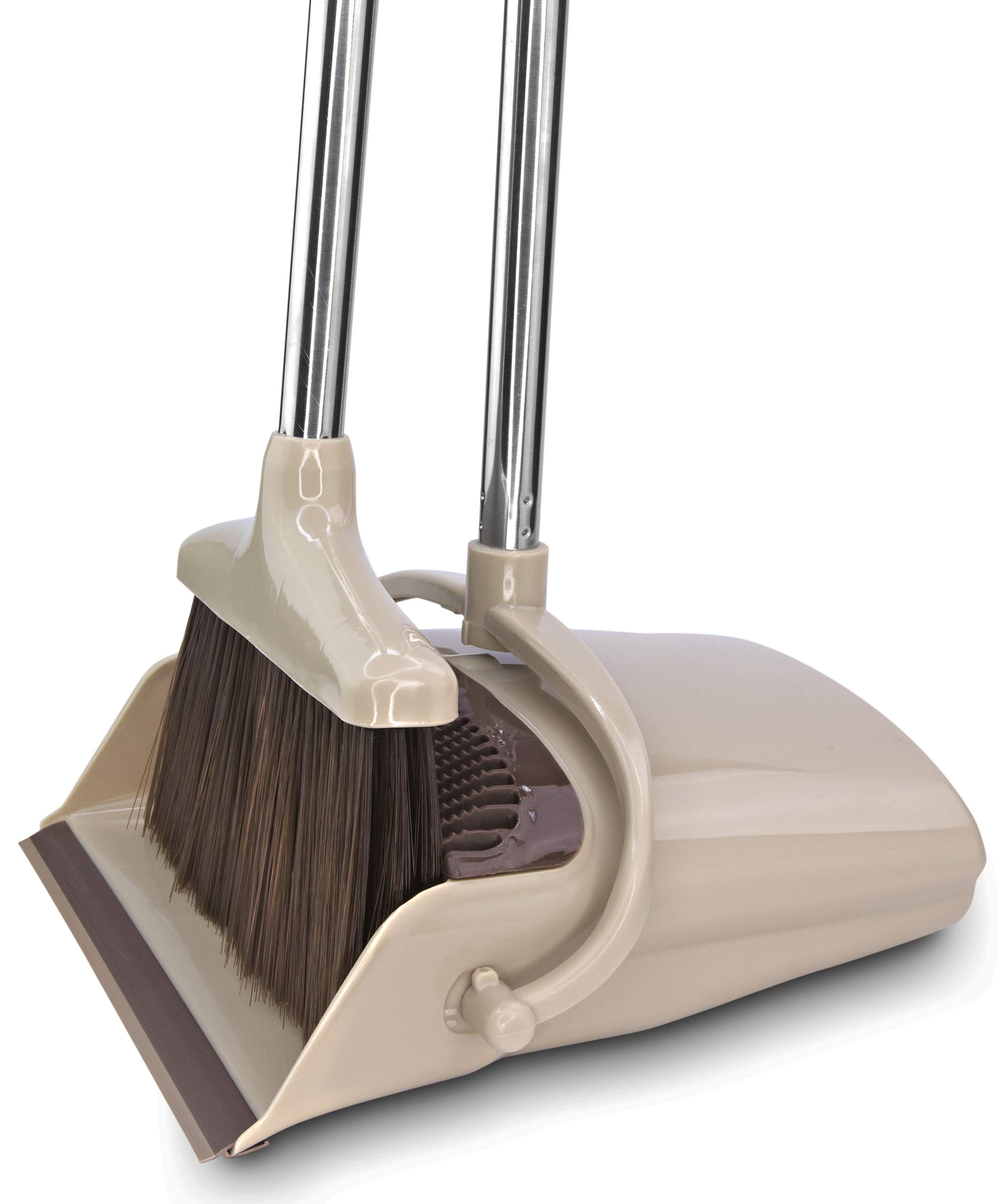 Broom and Dustpan Set [2019 Version] - Stand Up Brush and Dust Pan Combo for Upright Cleaning - Remove Hair with Built-in Wisp Scraper - Kitchen, Outdoor, Hardwood Floor & Garage Tiles Clean Supplies by Belleford (Image #1)