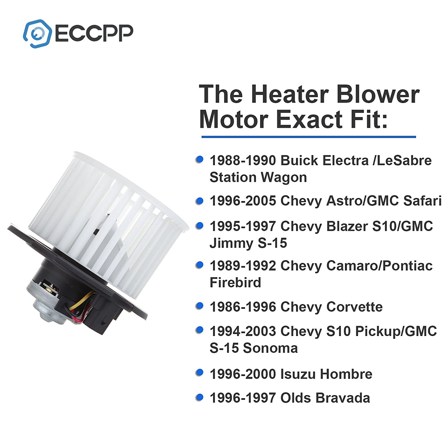 Abs Plastic Heater Blower Motor W Fan Cage Eccpp For 1996 S10 Blazer Wiring Diagram 1988 1990 Buick Electra Station Wagon Lesabre Automotive