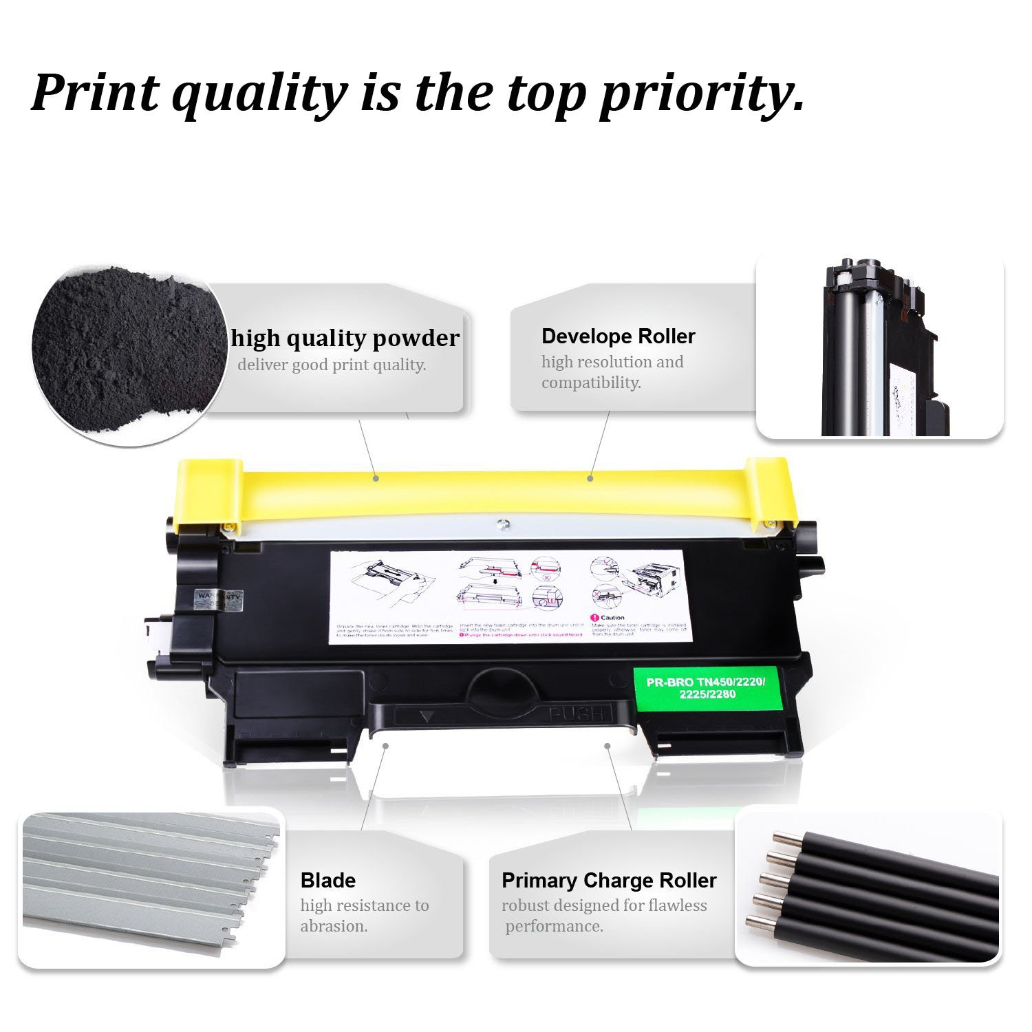 Brother FAX2840 intelliFAX-2840 Mono Laser High Speed Copy//Fax//Print Machine 1 ea FAX2840 + 2 Pack TN450 Toners