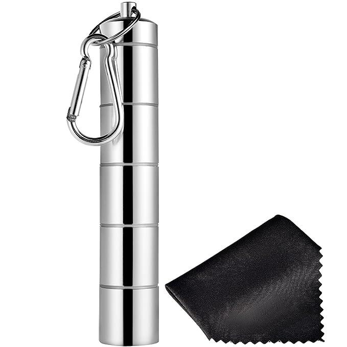 Pastillero Portátil de 5 Compartimientos Contenedor de Aluminio de Aleación de Medicinas Impermeable con Llavero y Paño Negro para Viaje Acampada al Aire ...