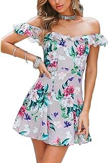 Nimpansa Women Bodycon Mini Dress Off Shoulder Ruffle Slit Cocktail Dresses