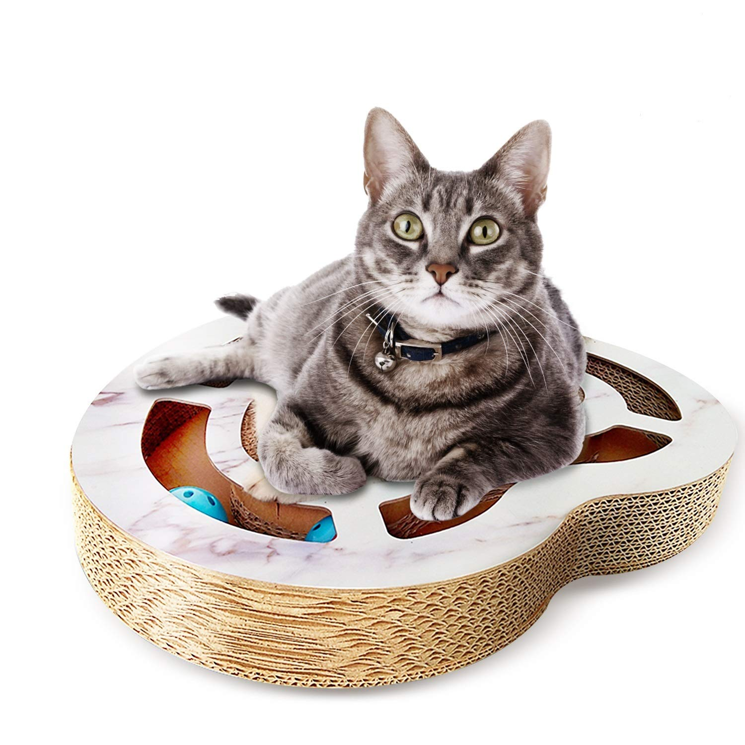 Nittis Heart-Shaped Scratcher Cat Toys with Bell Balls,Interactive cat Toy,Deluxe Cat Scratcher Lounge,Cardboard Cat Scratching Post