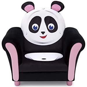 Delta Children Cozy Children's Chair - Fun Animal Character, Black & White Panda