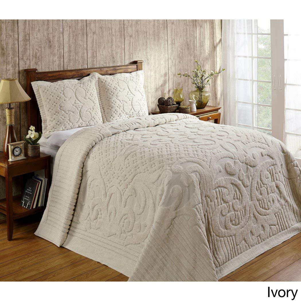 1 Piece 81 x 110オーバーサイズアイボリーシェニール織Bedspreadツイン、フランス語Florals MedallionコットンクラシックヴィンテージレトロアンティークHangsに床の寝具、Extra Long Wideソフト国 B06ZYT1Y6Q