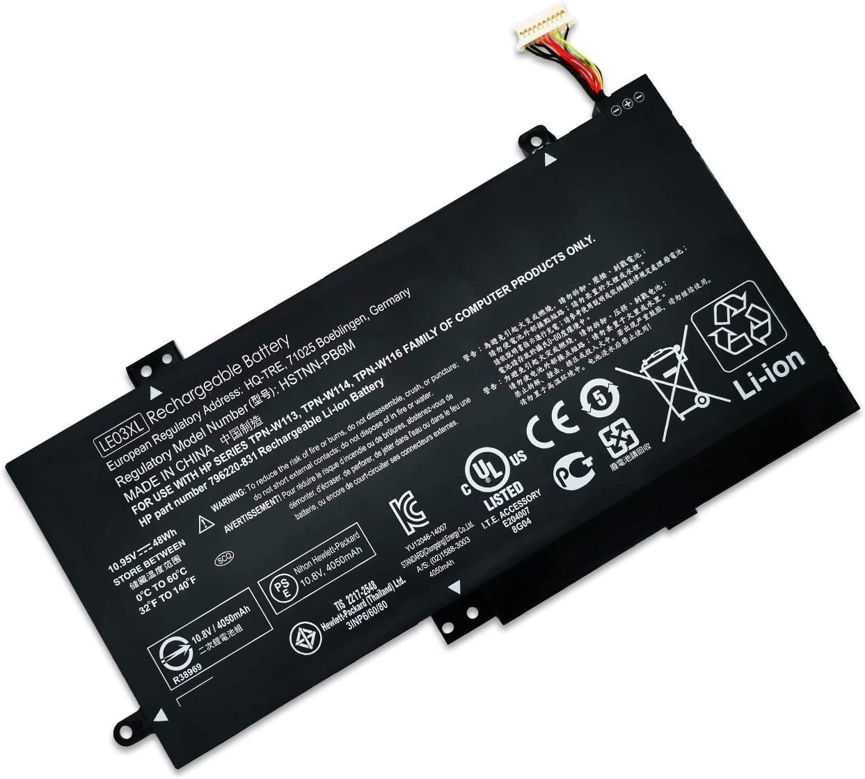 11.4V 48Wh Laptop Battery LE03XL Compatible with HP Pavilion x360 M6-W 796356-005