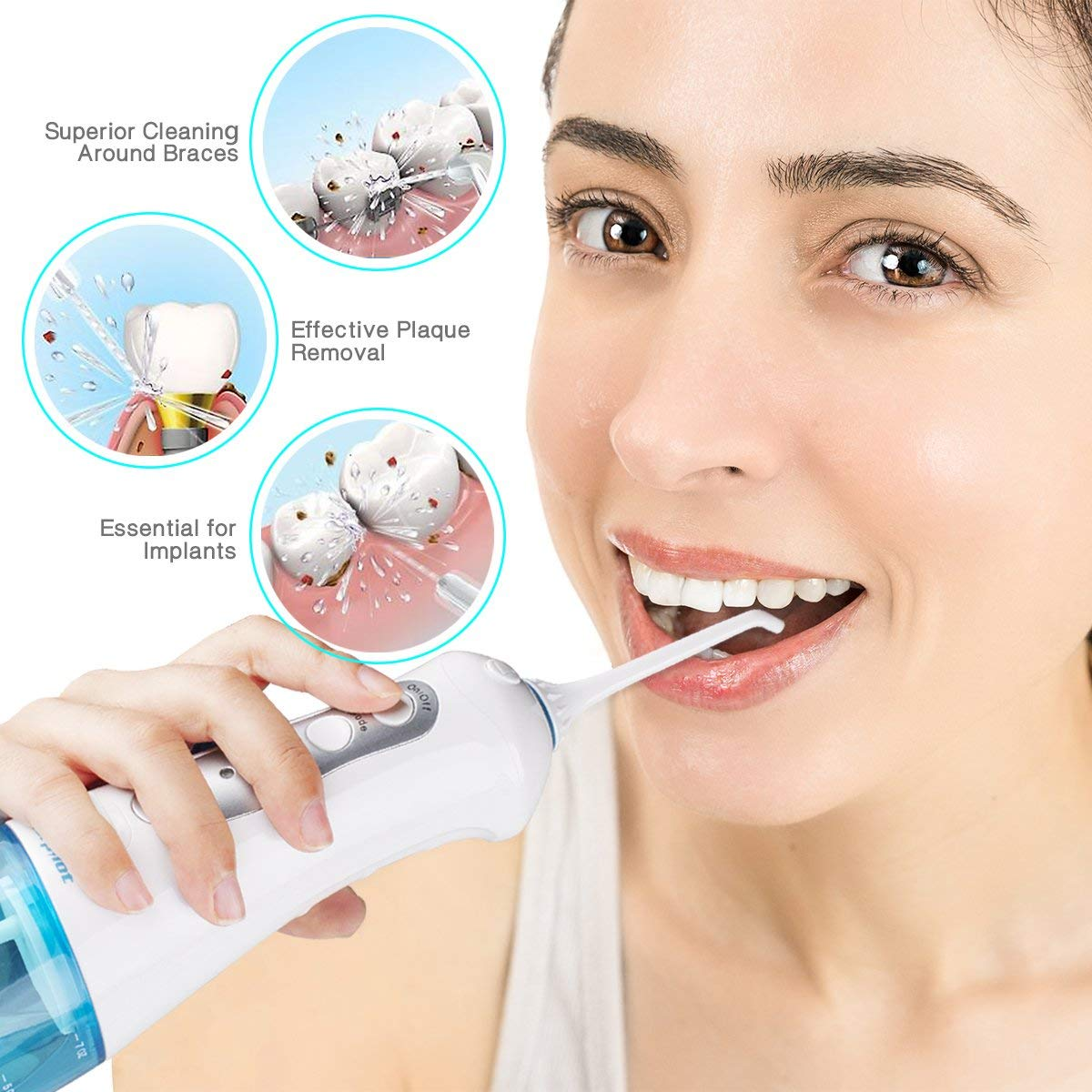 Water Flosser for Teeth,Morpilot Professional Cordless Dental Oral Irrigator,3 Modes with 4 Jet Nozzles,IPX7 Waterproof Flosser with Rechargeable Batteries for Home/Travel/Office Use (blue)