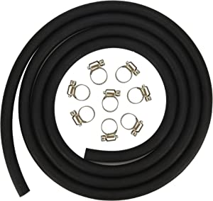 Cococart 1/4 Inch ID x 6.5 Feet/2m Length NBR/PVC SAE30R6 Fuel Line Hose Tubing with Adjustable Clamps
